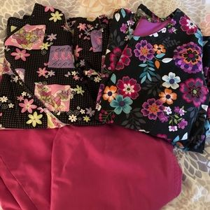 Scrub set 2 tops and one pair of pants